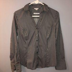 Calvin Klein, women's button down striped blouse